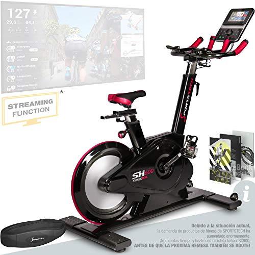 Sportstech Bicicleta de Elite - Marca de Calidad Alemana - Eventos en Directo & App Multijugador, Sistema de Freno magnético controlado por Ordenador, Volante de 26KG (SX600_Alt)