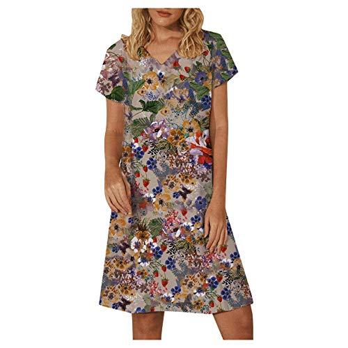 YANFANG Vestidos Informales,Vestido De Estilo Casual con Estampado Flores Y Mangas Cortas Cuello...*