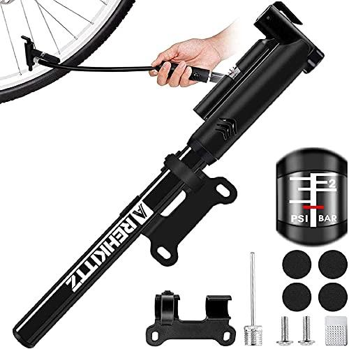 AMZOON Bomba Bicicletas Inflador Bici Adicional Manguera Mini Hinchador Bicis Bomba de Aire Bicicleta per BMX MTB Adaptador Válvulas Presta & Schrader