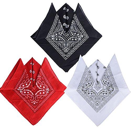 QUMAO Pack de 3 Pañuelos Bandanas de Modelo de Paisley para Cuello/Cabeza Multicolor Múltiple 100% Algodón para Mujer y Hombre (Pack de 3; Negro&blanco&rojo)