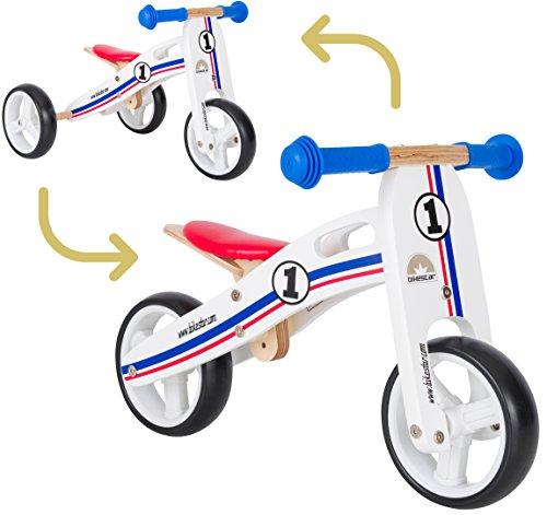 BIKESTAR 2 in 1 Bicicleta sin Pedales Madera para niños y niñas Bici Ajustable 7 Pulgadas   Bicicleta y Triciclo Mini a Partir de 1-1,5 años   7' Edición Sport Blanco