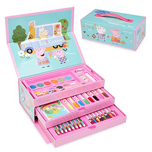 Peppa Pig Maletin Pinturas, Material Escolar Con Ceras de Colores Y Lapices De Colores, Kit Dibujo Para Niña