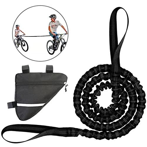 Elástica Cuerda Remolque para MTB Bicicleta Cuerda de Remolque para Niños Cuerda de Nailon Bungee Cord para Bicicleta con El Marco del Bolso del Triángulo Negro, Peso Carga De hasta 500 Libras