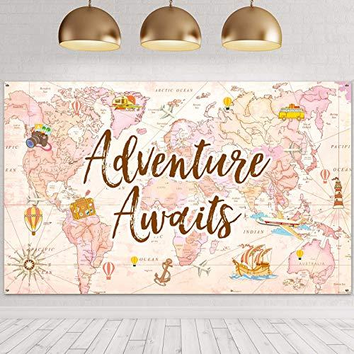 Suministros de Decoración de Fiesta Temática de Viaje Fondo de Adventure Awaits Bon Voyage Fondo de Mapa de Aventura para Cumpleaños Graduación Fotomatón Rosa, 70,8 x 43,3 Pulgadas