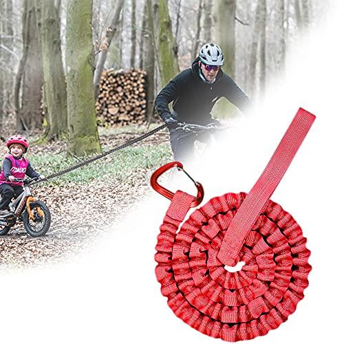 Cuerda de Remolque MTB, Cuerda de Remolque Bicicleta para Niños, Universalmente Duradera, Para Bicicletas, Bicicleta Eléctrica, Adultos, Rojo (3M, Hasta 500 lb / 225 kg)