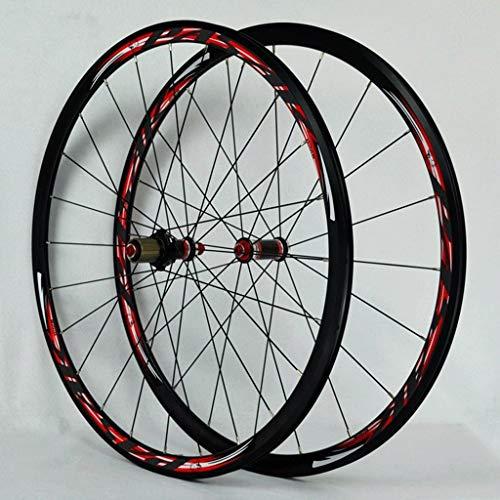 Juego Ruedas Bicicleta 700C Bujes Fibra Carbono Llanta Bicicleta Carretera Freno C/V 1560g Liberación Rápida Cubos Rodamientos Sellados para Volante Cassette 7-11 Velocidades