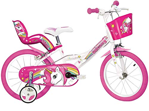 Dino Bikes - 164R-UN Unicorn - Bicicleta con diseño de Unicornios de 40,6 cm, Color Blanco y Rosa