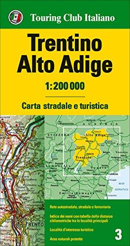 Trentino, Alto Adigio 1:200.000 mapa de carreteras impermeable Touring Club Italiano. (Carte regionali 1:200.000)