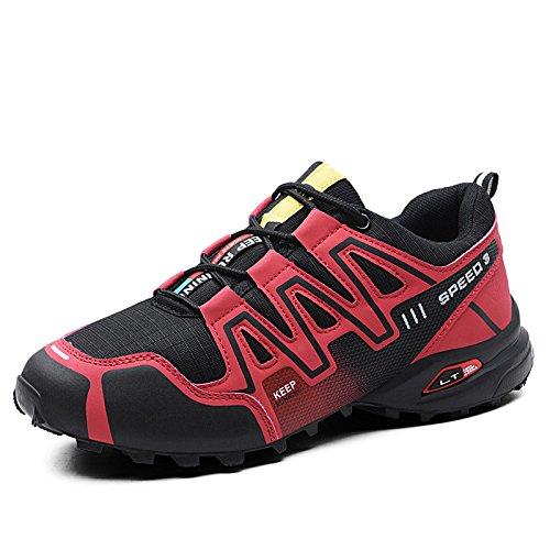 CHUIKUAJ Calzado de Ciclismo para Hombre Calzado de Ciclismo Indoor Sin Candado,Zapatos de Ciclismo de Bicicleta de Montaña Impermeables,Red-41EU