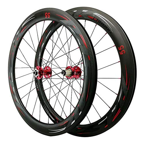 700C Carretera Bicicleta Rueda,Ruedas de Ciclismo Fibra de Carbon 24 Hoyos Apertura de 55mm Freno...*
