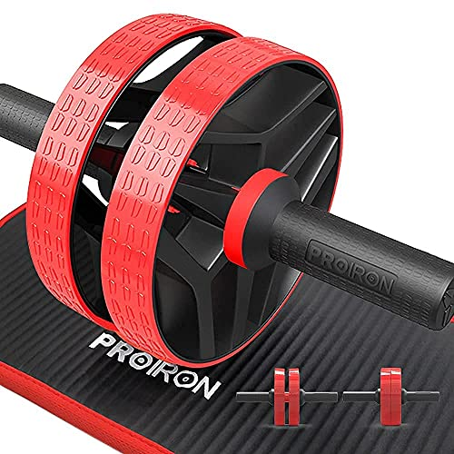 PROIRON Rueda Abdominales con Alfombrilla Grande - Rodillo Abdominales Fitness con Modos de Entrenamiento Dual para Entrenamiento Muscular Fitness Ejercicio en Casa