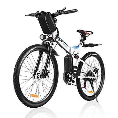 Vivi Bicicleta Eléctrica de Montaña Plegable,26'E-Bike MTB Pedal Assist,250W Bici Electrica Plegable para Adultos,Shimano 21 Velocidades Velocidad Batería Extraíble de 36V 8Ah