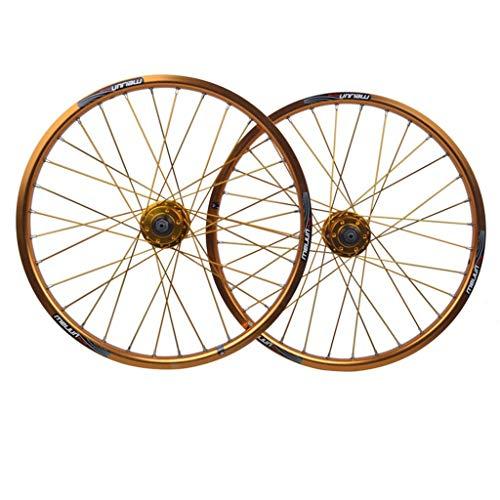 MZPWJD Rueda Bicicleta BMX 20 Pulgadas Juego Ruedas Bicicleta Llanta Aleación Doble Capa Freno Disco Liberación Rápida 7 8 9 10 Velocidad 32H (Color : Gold, Size : 20in)