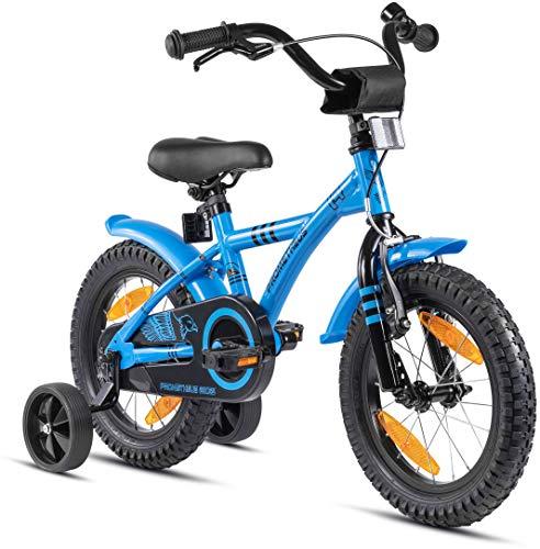 Prometheus Bicicleta para niños de 3 a 5 años   Bicicleta Infantil 4 años para niñas 14 Pulgadas con ruedines en Azul y Negro