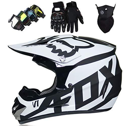 Casco Motocross Niño 5~12 Años ECE Homologado Casco Moto Integral Unisex para Moto de Cross Descenso Enduro MTB Quad BMX Bicicleta (Gafas+Máscara+Guantes) con Diseño FOX - MJH-01 - Negro Blanco