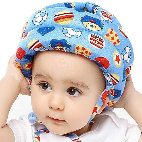 IULONEE Casco de bebé Protector de cabeza infantil Sombrero de protección para niños Casco de seguridad ajustable de algodón (fútbol azul)