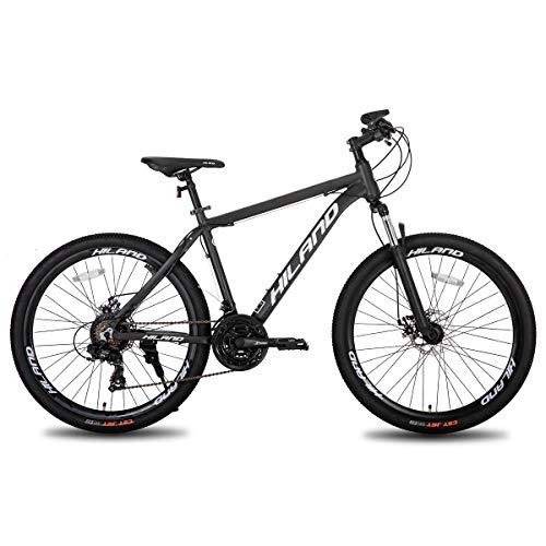 Hiland Bicicleta de montaña de aluminio, 26 pulgadas, 24 velocidades, con freno de disco Shimano, cuadro de 19,5, color gris