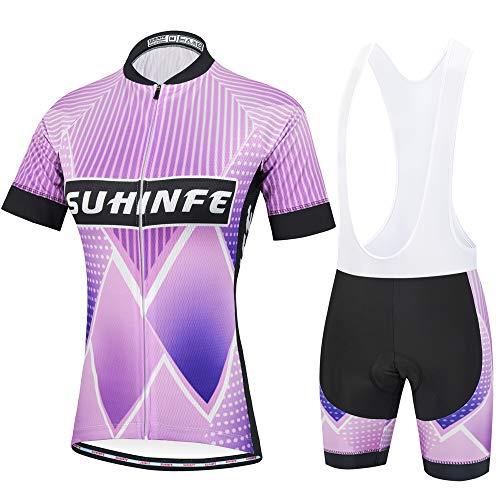SUHINFE Maillot Ciclismo Mujer Verano, Ctraje Ciclismo y Culotte Ciclismo con 5D Gel Pad para...*