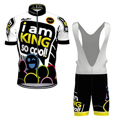Hengxin Maillot Ciclismo Corto De Verano para Hombre, Ropa Culote Conjunto Traje Culotte Deportivo con 9D Almohadilla De Gel para Bicicleta MTB Ciclista Bici (Blanco, M)
