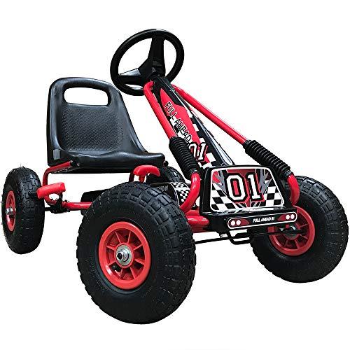 Kiddo Racer Design-Kart a Pedales (Asiento Ajustable, neumáticos de Goma, para niños de 4 a 8 años), Color Rojo, Rosso (RayGar Ltd RG0209)