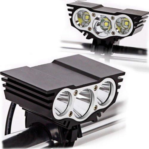 Luz de Bicicleta,3 LED Lineternas Frontales Potentes 7500 Lumenes 3 Modos con Batería y Cargador Led Luces para Bicicleta,Ciclismo