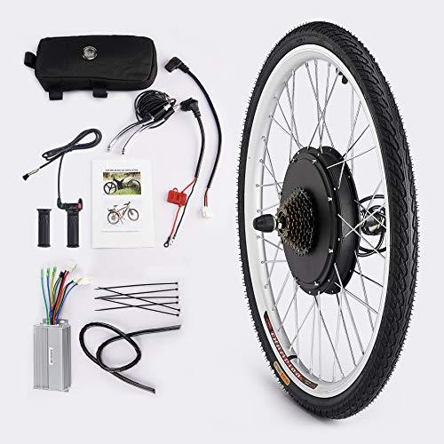 Viribus Kit de Conversión para Bicecleta Eléctrica Kit de Conversión de Bicicleta Electric para Rueda Trasera 26Pulgadas Bike Conversion Kit con Controlador de Modo Dual