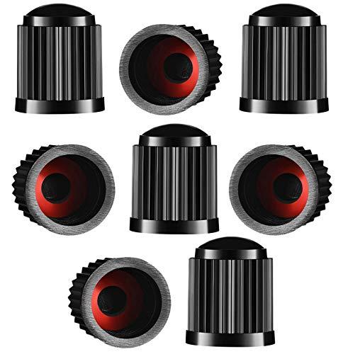 8 tapones de válvula para neumáticos, de plástico, para coche, con anillo de sellado para SUV, moto, camiones, bicicletas, color negro