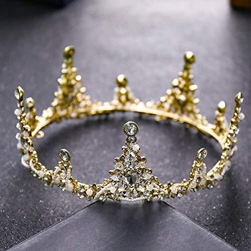 FENGMEI Joyería de Oro Full Circle Corona Grande Princesa Corona del Rhinestone Casco de la Boda Vestido de Novia Accesorios