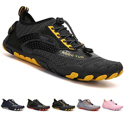 Zapatillas de Trail Running Minimalistas Zapatos Barefoot Agua Antideslizante Ligeras Natación de Secado Rápido Playa Surf Ciclismo Unisex Hombre Mujer Negro 46