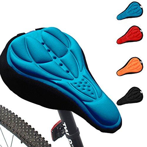 Generic ciclismo 3d silicona Gel grueso suave cojín bicicleta de montaña sillín de bicicleta asiento Pad 4 colores opcionales, azul