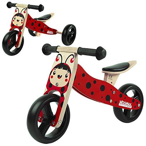 WOOMAX - Triciclo 2 en 1 sin pedales bebé 1 año, madera, 59 x 34 x 38 cm