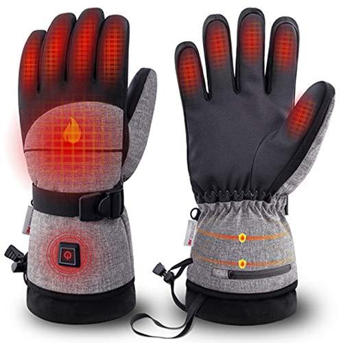 Calentó los guantes, impermeables de invierno guantes térmicos mujeres y los hombres baterías recargables Guantes para el frío Actividades snowboard, nieve arado, andar en bicicleta o caminar,XL