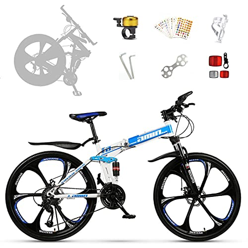 DY Bicicleta, 26 Pulgadas con Suspensión De Aluminio Regulable Bicicletas De Montaña, 21Cambio Velocidades Y Frenos De Disco
