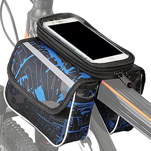 Bolsas de Bicicleta, Bolsa Bicicleta Cuadro, Bolsa Impermeable para Bicicleta, Bolso Bicicleta con Ventana para Pantalla Táctil, para Teléfono Inteligente por Debajo de 6,2 Pulgadas