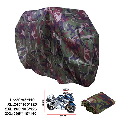 ANFTOP Funda Protector para Moto de 180T Polyester Cubierta para Moto Motocicleta Resistente al Agua a Prueba de UV Color Camuflaje Talla L
