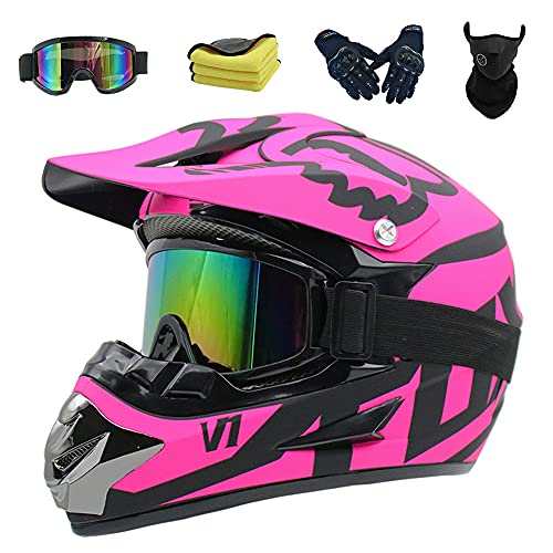 Casco Moto Niño, Casco Motocross Infantil y Adulto D.O.T Standard Casco Enduro MTB Integral...*