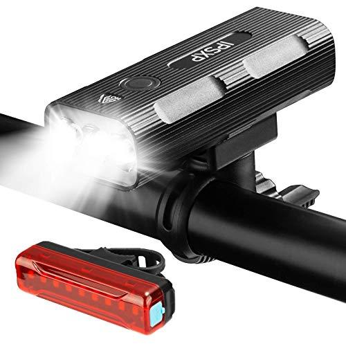 IPSXP Luz Bicicleta Recargable USB,Luz Bicicleta LED multifunción, IP65 Resistente con 3 Modes,Luz LED Bicicleta para Carretera y Montaña - Seguridad para la Noche
