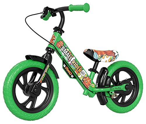 Small Rider Motors Cartoons EVA, bicicleta de equilibrio de 12 pulgadas, sin pedales, Frenos x2, el sillín y el manillar son ajustables en altura, regalo de cumpleaños, niños y niñas a partir de 3+