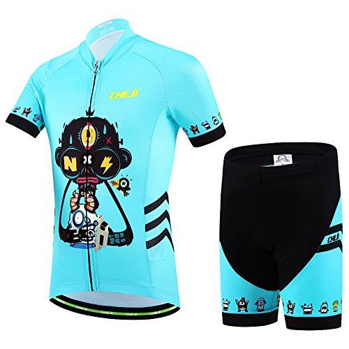 Ateid - Maillot de ciclismo para niños, manga corta, con pantalón, color Robo-Schädel, tamaño...*