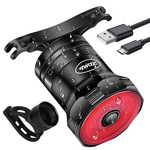 CHYBFU Luz Trasera Bicicleta Recargable USB, Inteligente Luz Freno Bicicleta con Inducción de Freno de Encendido/Apagado Auto, Luces LED Bicicleta IPX6 Impermeable y 6 Modos para Carretera y Montaña