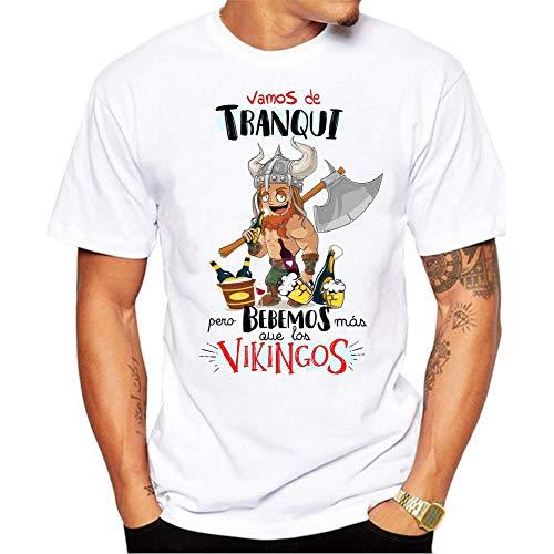 FUNNY CUP Camiseta Vamos de Tranqui Pero bebemos mas Que los Vikingos. Fiestas, Grupos Despedida Soltero, cumpleaños. (M)