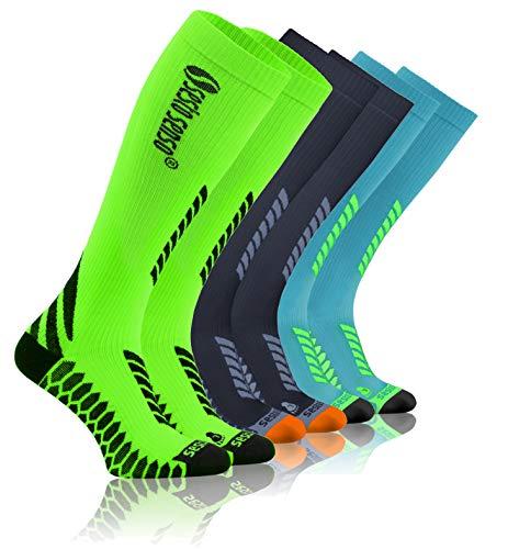Sesto Senso Calcetines de Compresión Deporte Colores Altos Hombre Mujer 1 y 3 Pares 35-38 3 pack Gris Grafito Verde Turquesa