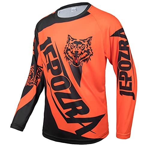 JEPOZRA Maillot Descenso Hombre Verano MTB Manga Larga Bicicleta Downhill Deportes al Aire Libre Camiseta Ciclismo Motocross Ropa Tops