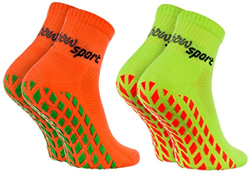 Rainbow Socks - Hombre Mujer Calcetines Antideslizantes de Deporte - 2 Pares - Naranja Verde - Talla...*