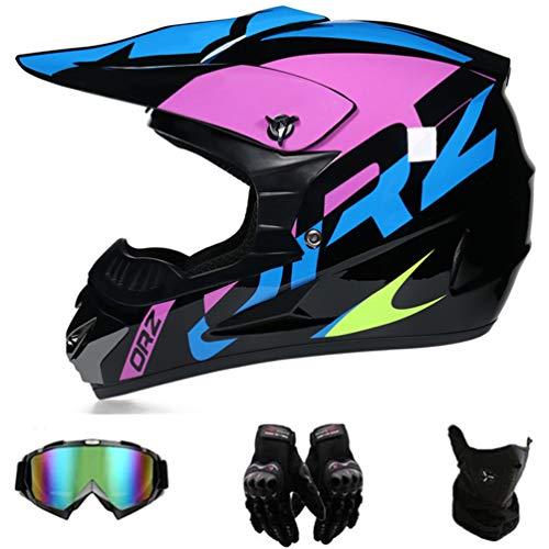 GD-SJK Casco de moto de cross, negro, lila, casco de motocross con gafas, casco integral de MTB, casco de moto, bicicleta Enduro, Downhill BMX Offroad ATV Offroad Gear Combo (S)