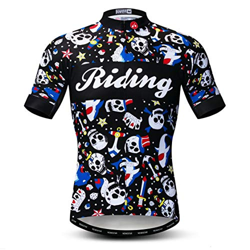 Weimostar Maillot de Ciclismo Hombres Ropa de Bici Maillot de Bicicleta Top Mountain Road MTB Jersey Camisa Manga Corta Equipo Ropa Deportiva Blanco Negro L