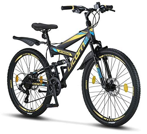 Licorne Bike Strong D - Bicicleta de montaña de 26 pulgadas Fully, freno de disco delantero y trasero, cambio de 21 marchas, suspensión completa, para jóvenes y hombres