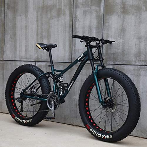 26'Bicicletas de Montaña,21 Velocidad Bikes Bicicleta Montaña,Bicicleta de Montaña para Adultos Fat Tire ,Marco de Acero de Alto Carbono Doble Suspensión Completa Doble Freno de Disco (Cian)