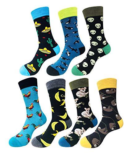 EmaoFun Calcetines divertidos para hombre, calcetines coloridos de algodón para vestir, para hombre, talla 39 - 46… (Caribe)