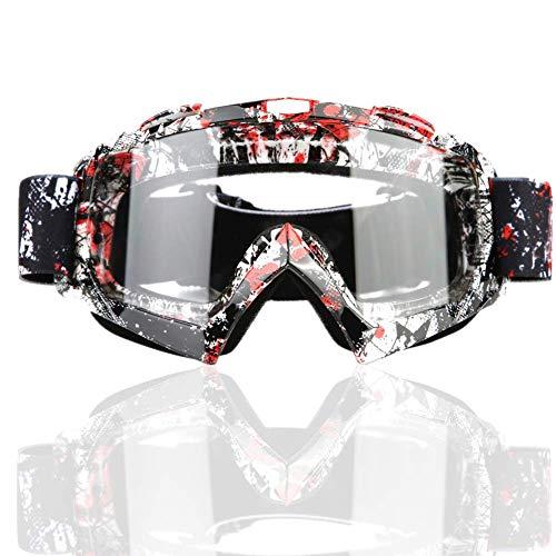 Akozon Traje de Motocross,Gafas de moto Motocross Dirt Bike para motociclismo Ciclismo Esquí(P932 Lente transparente)